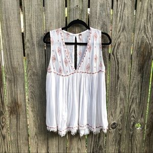 Free People Embroidered Sleeveless Blouse